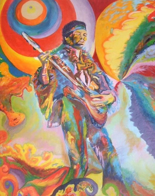 Hendrix Painting - Music Is Ecstasy  by Erik Franco