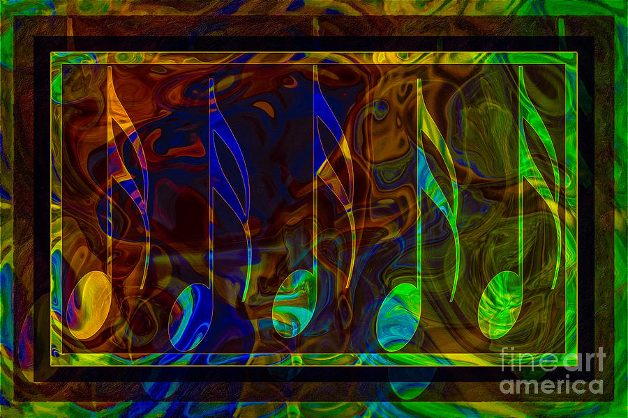 Music Notes Digital Art - Music Is Magical Abstract Healing Art by Omaste Witkowski