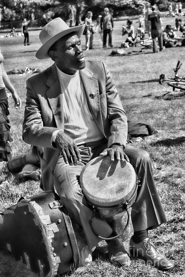 Man Photograph - Music Man On Hippie Hill By Diana Sainz by Diana Sainz