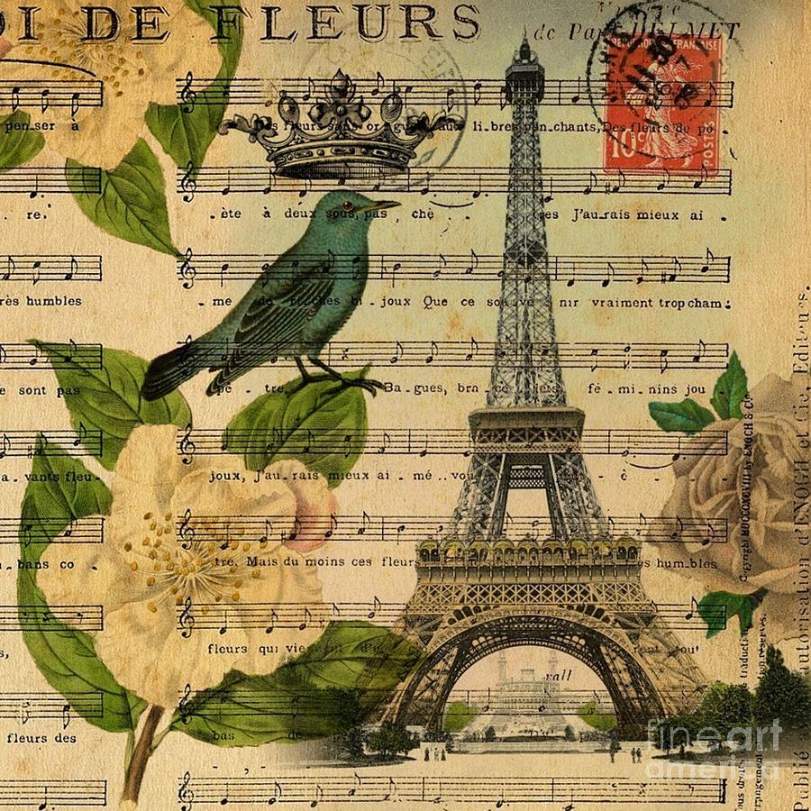 Music Notes Botanical Rose Bird Vintage Paris Eiffel Tower