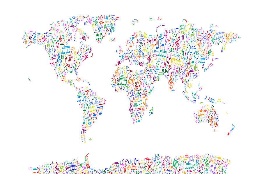 World Map Digital Art - Music Notes Map Of The World by Michael Tompsett