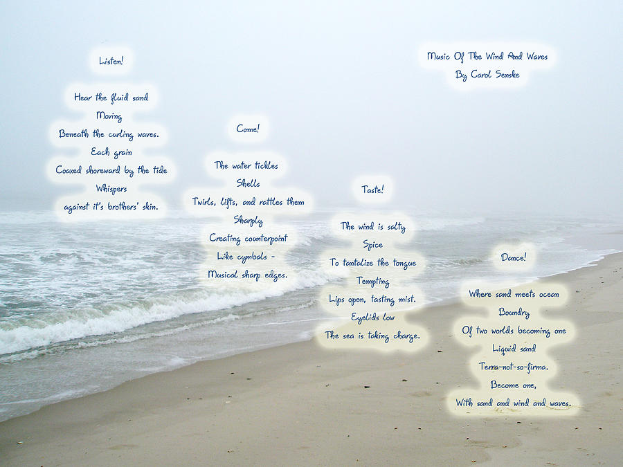 Poem Photograph - Music Of The Wind And Waves Poem On Ocean Background by Mother Nature