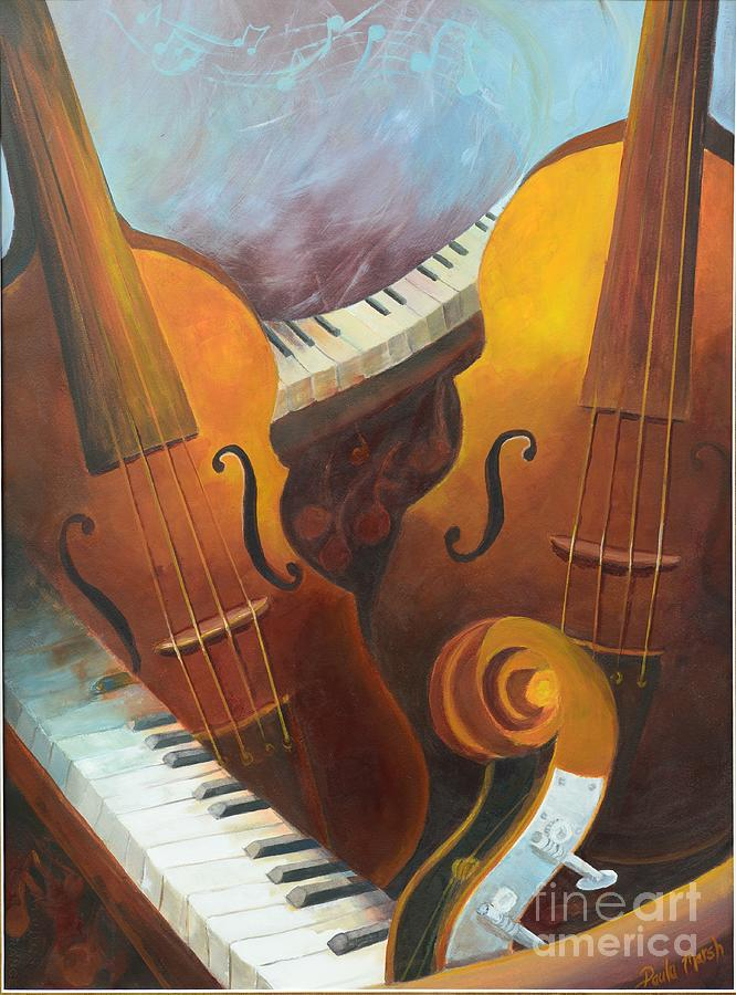 Musical String Instruments Painting - Music Relief by Paula Marsh