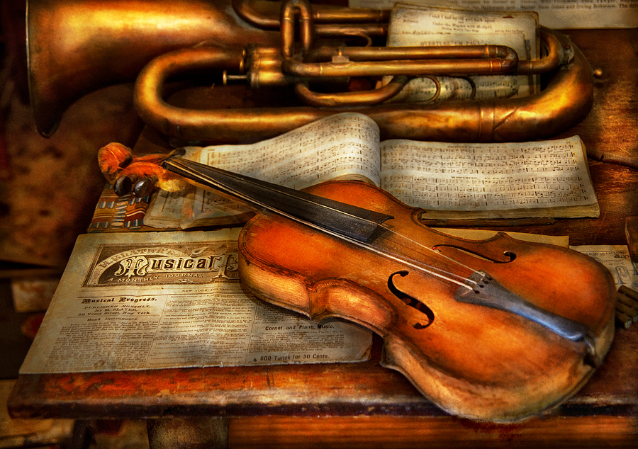 Hdr Photograph - Music - Violin - Played Its Last Song  by Mike Savad