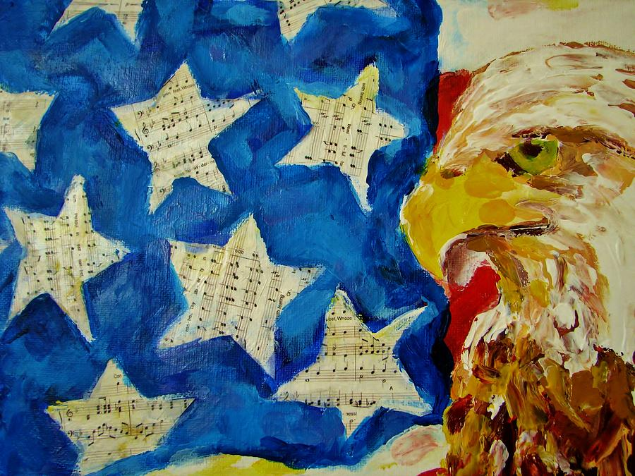 American Flag Painting - Musical Flag Stars by Kat Griffin