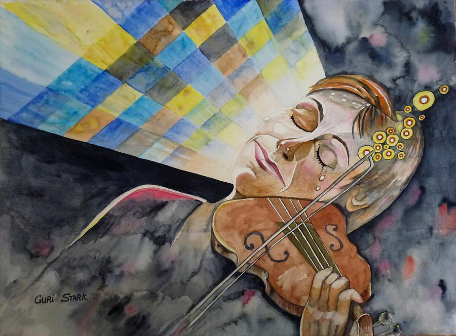 Watercolors Painting - Musical Moment by Guri Stark