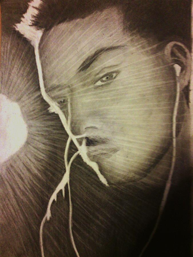 Male Drawing - Musically Mesmerized by Crystal  Menicola