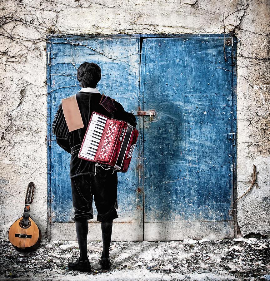 Door Photograph - Musician At The Door by Nermin Smajic