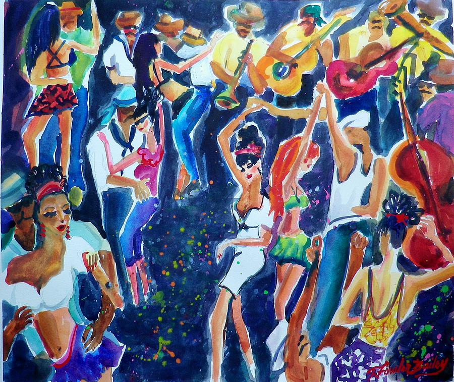 Carnival Painting - Musicians And Street Jammers Of Rio Sold by Therese Fowler-Bailey