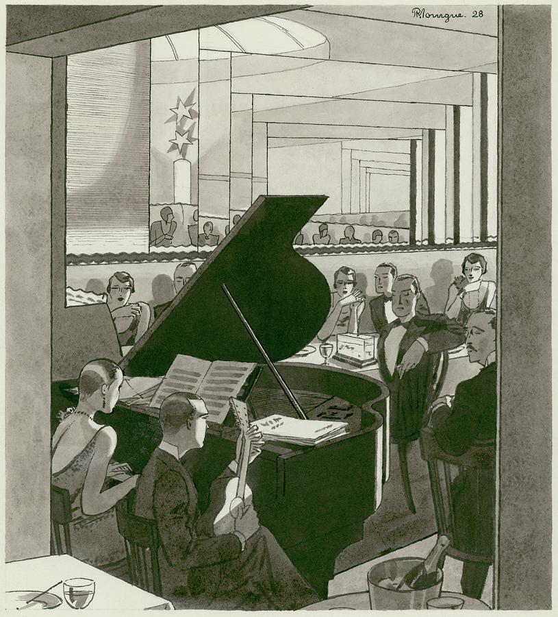 Musicians Entertain Patrons Digital Art by Pierre Mourgue