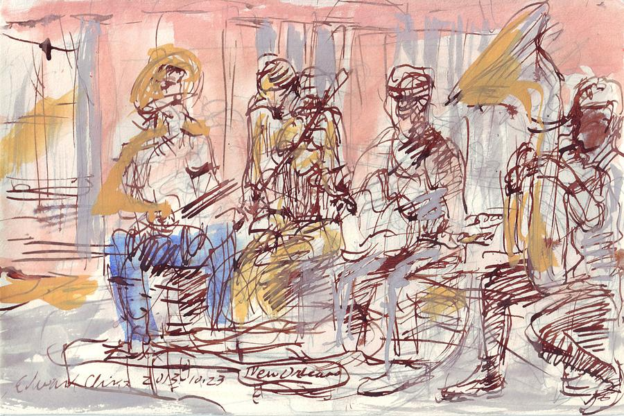 New Drawing - Musicians on Royal Street by Edward Ching