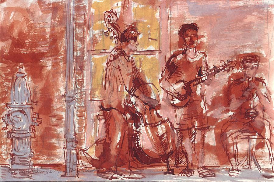 Preservation Drawing - Musicians On Royal Street New Orleans by Edward Ching