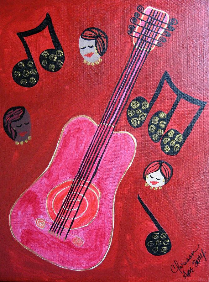 Music Painting - Musique Rouge by Clarissa Burton