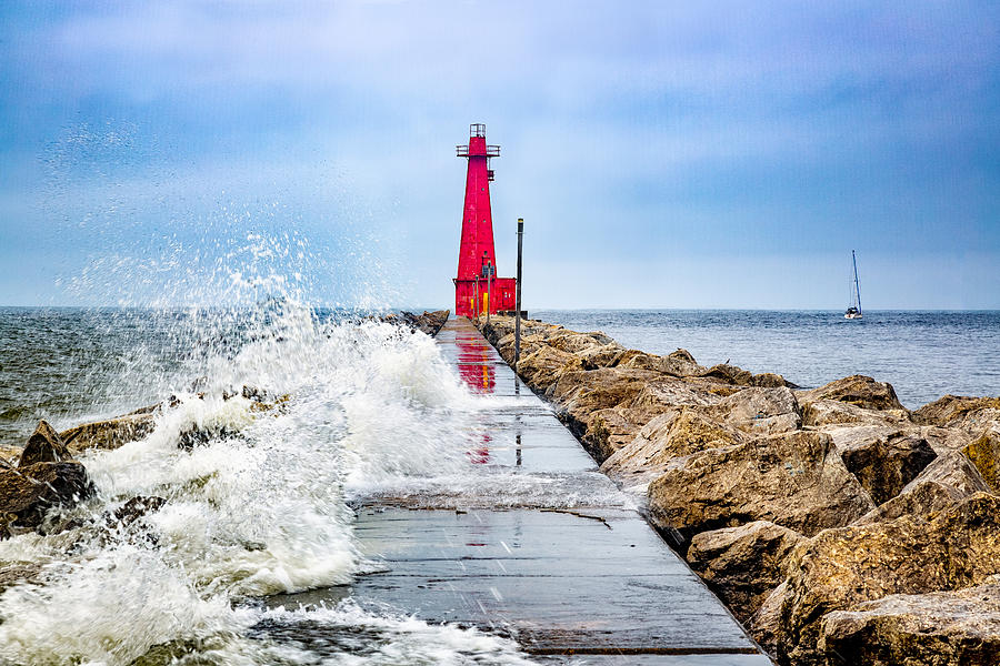 Muskegon Channel South Pier Lighthouse And Wave, Lake Michigan Photograph by Photography by Deb Snelson
