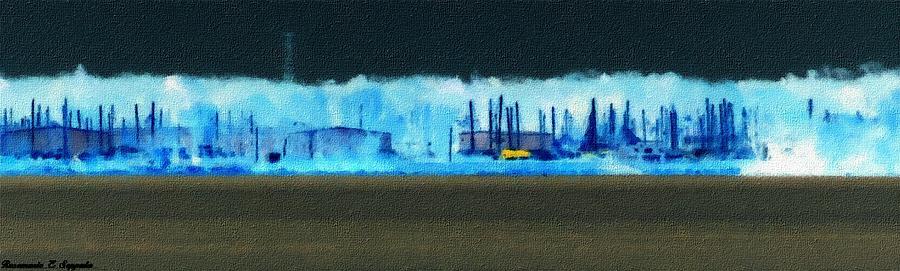 Muskegon Lake View Of Drydocked Sailboats At The Marina Painting by Rosemarie E Seppala