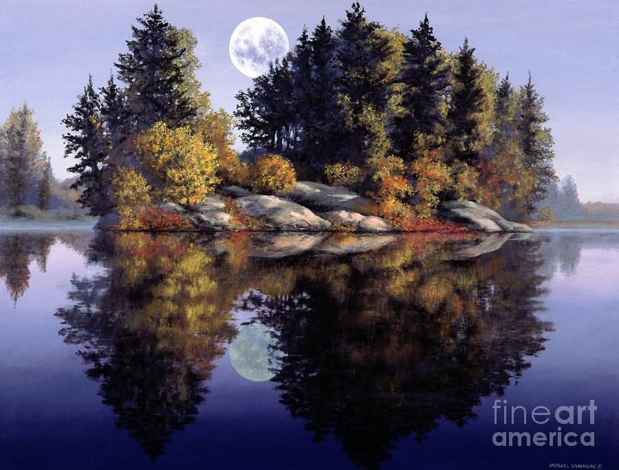 Muskoka Painting - Muskoka  Moon by Michael Swanson