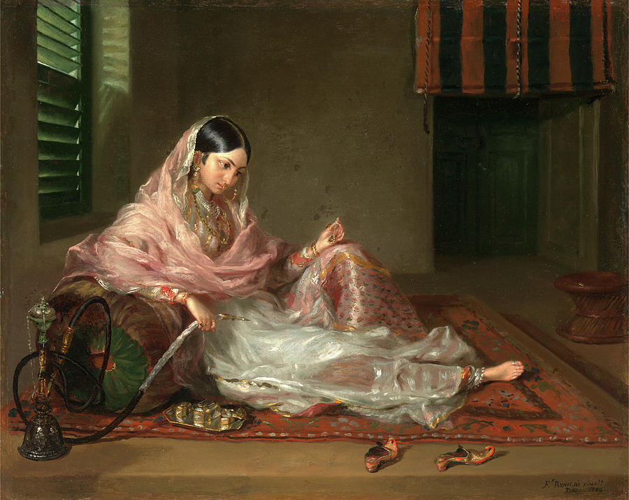 Oil On Canvas Painting - Muslim Lady Reclining An Indian Girl With A Hookah by Litz Collection