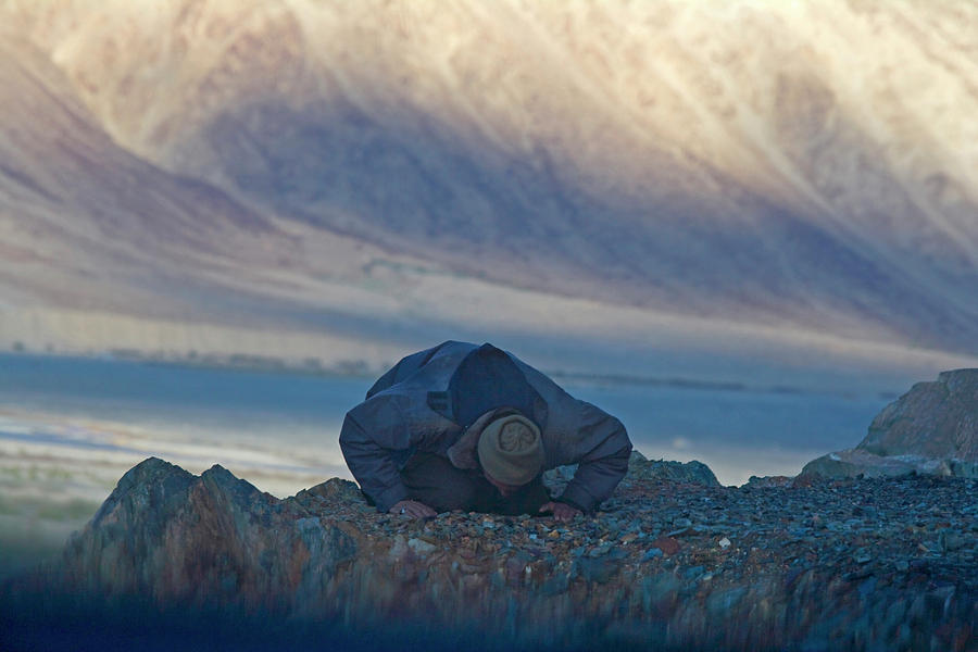 Asia Photograph - Muslim Praying Towards The West At Dusk by Keren Su
