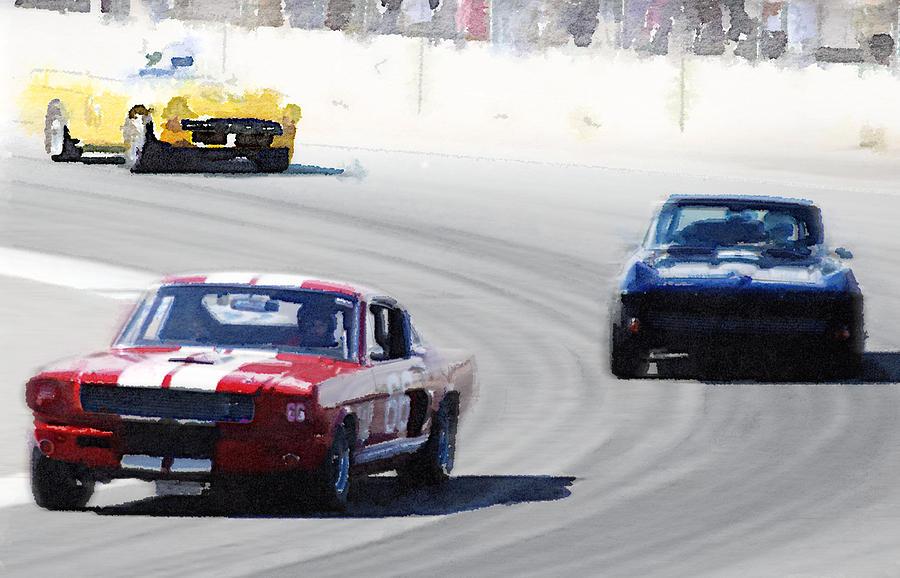 Mustang Painting - Mustang and Corvette Racing Watercolor by Naxart Studio