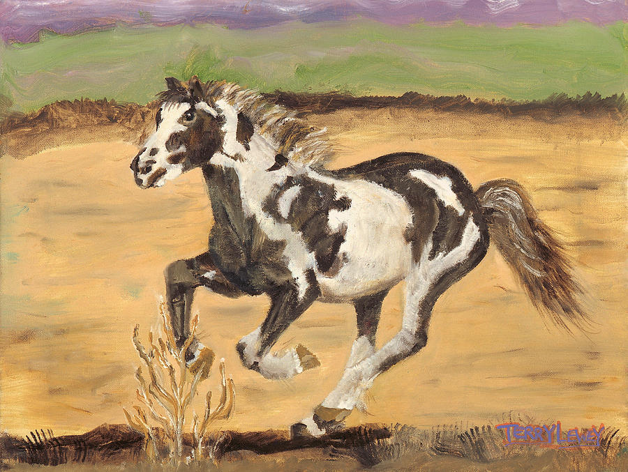 Horse Painting - Mustang by Terry Lewey