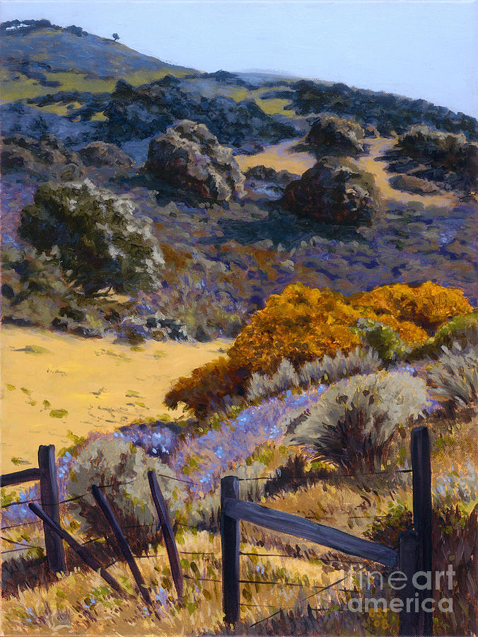 Landscape Painting - Mustard And Lupine by Betsee  Talavera