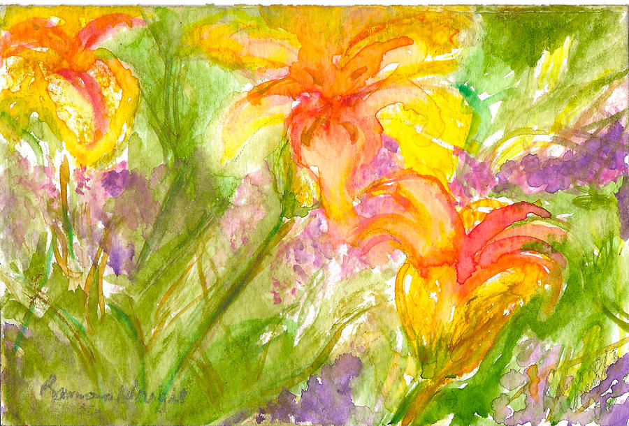 Flowers Painting - Muti-colored Flowers by Ramona Wright