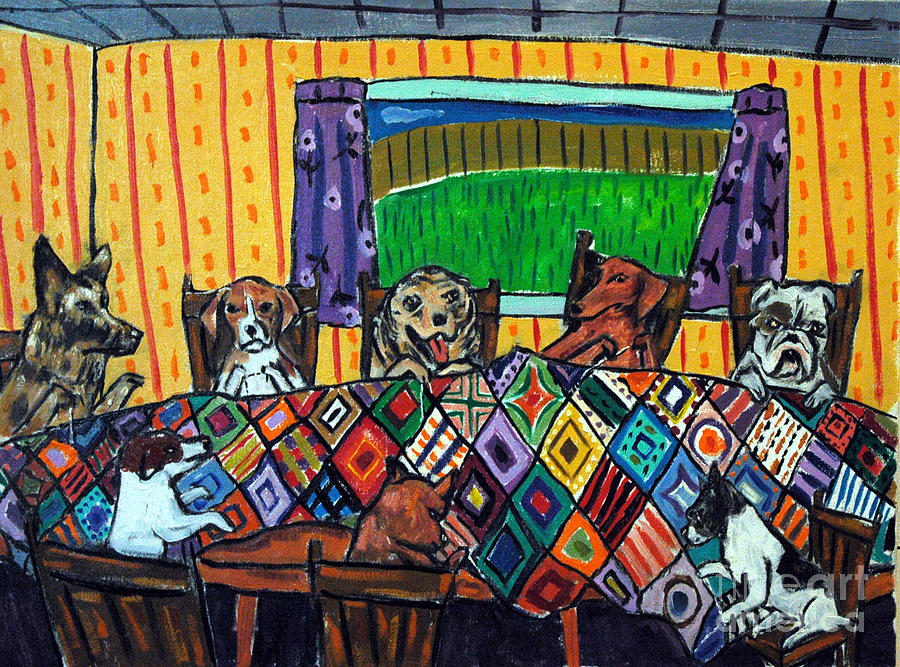 Beagle Painting - Mutts Quilting by Jay  Schmetz