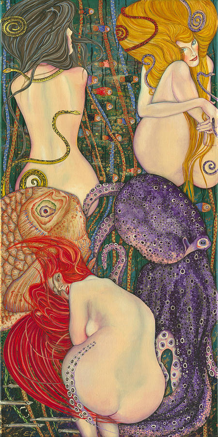 My Acrylic Painting Inspired By Klimt - Goldfish - Beethoven ...
