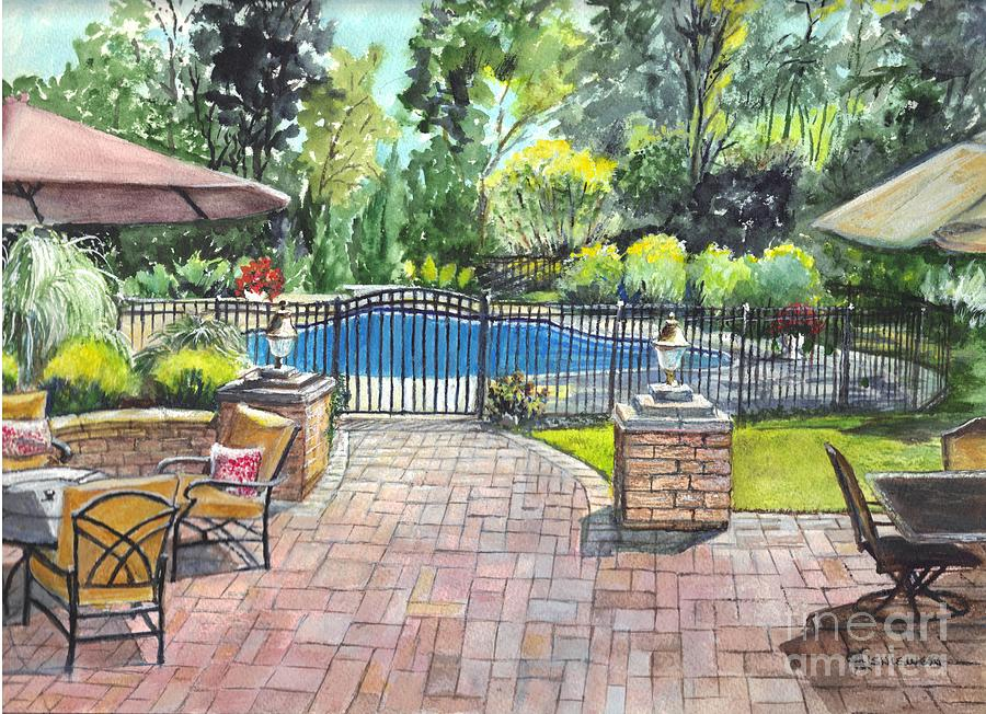 backyard painting my backyard vacation by carol wisniewski