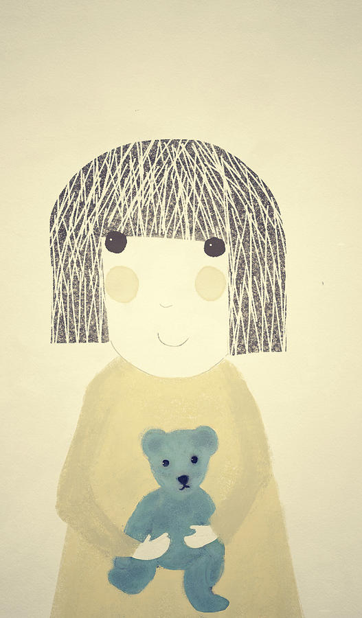 Girl Digital Art - My Bear And Me by Katy McFall