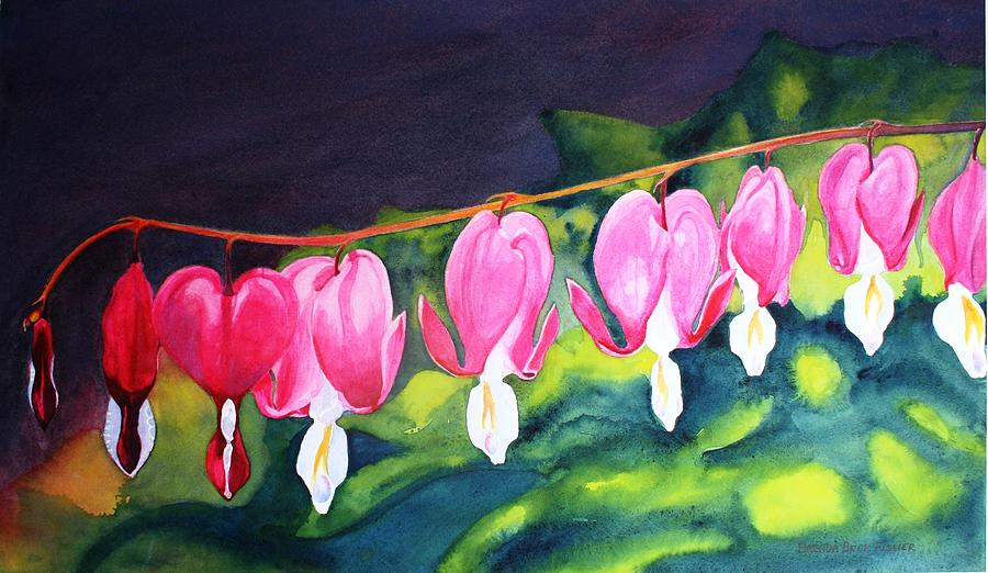 Bleeding Hearts Painting - My Bleeding Hearts by Brenda Beck Fisher
