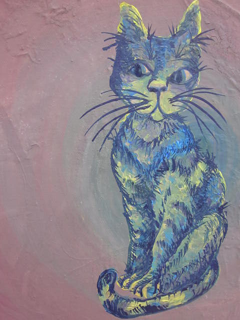 A Blue Curious Cat Painting - My Blue Cat by Cherie Sexsmith
