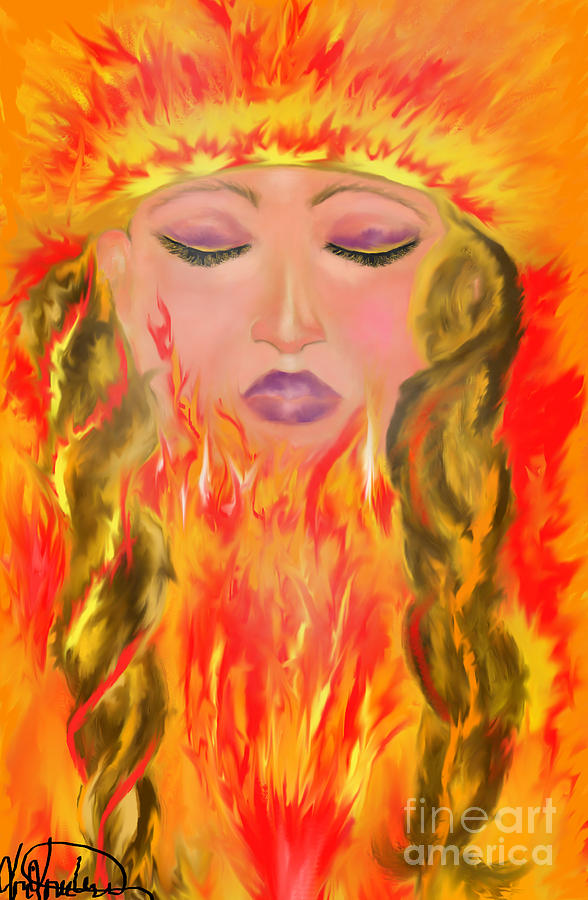 Woman Painting - My Burning Within by Lori  Lovetere