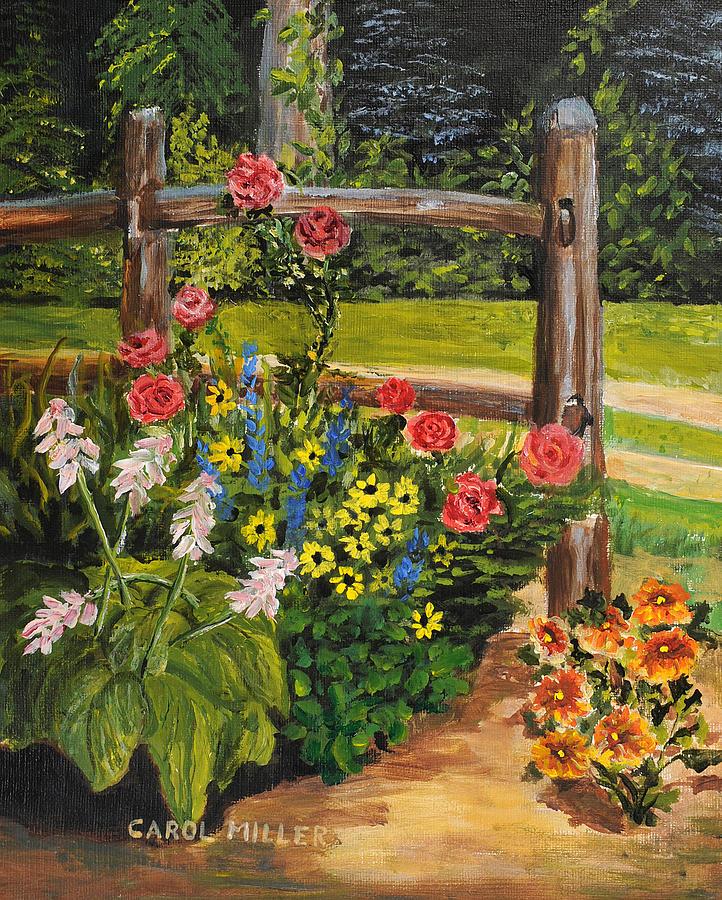 Corner Floral Garden Area: My Corner Flower Garden Painting By Carol L Miller