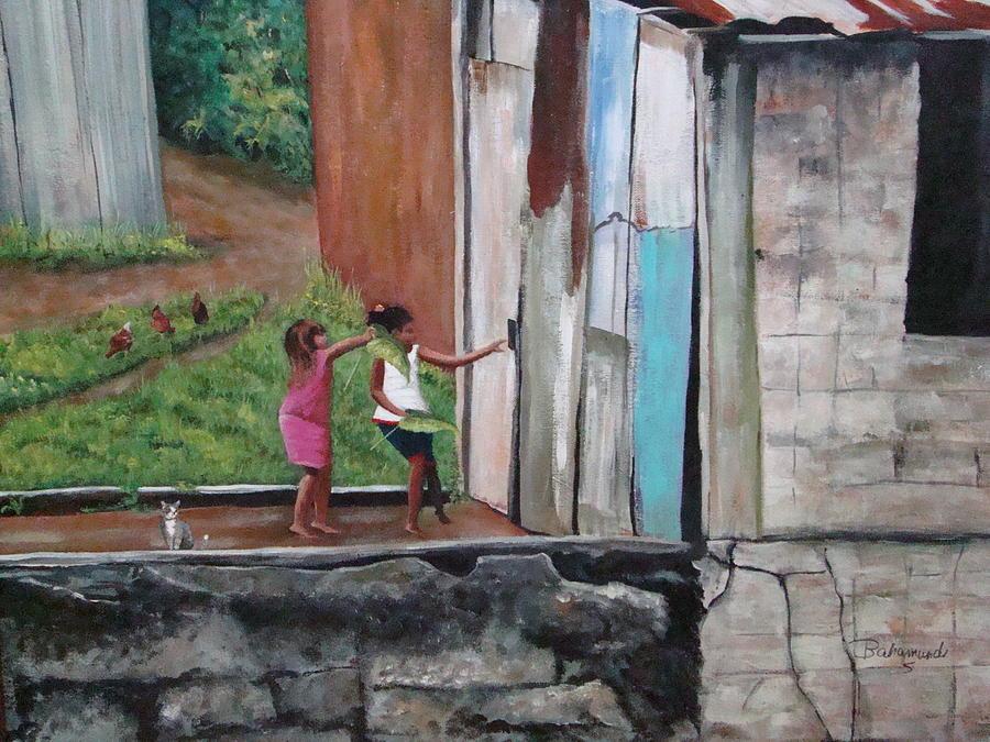 Girls Painting - My Doll House by Migdalia Bahamundi