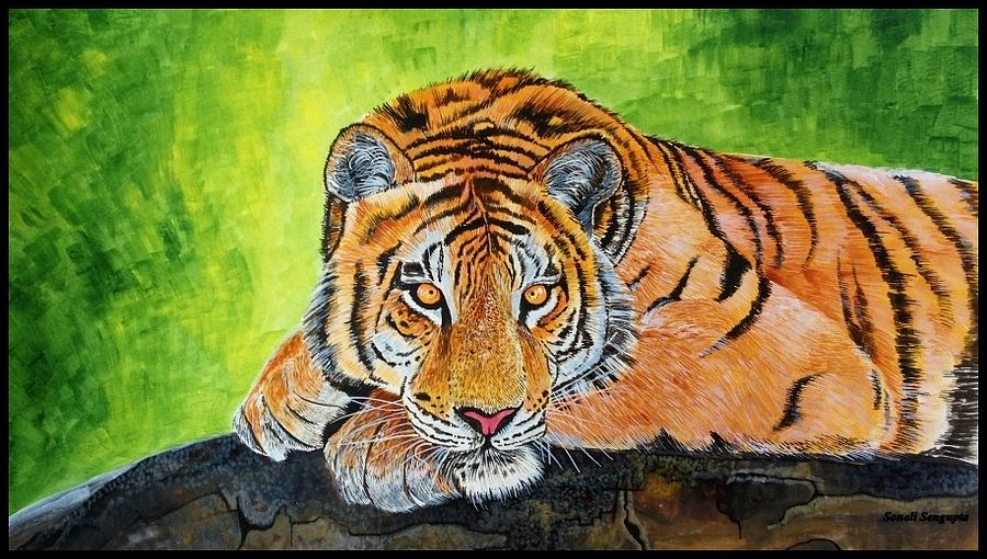 Tiger Painting - My Eyes Are On You.... by Sonali Sengupta