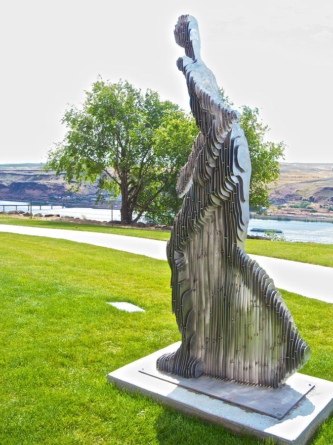 My Favorite View Of Metal Sculpture In Front Of Maryhill Museum Of Art-wa  by Ruth Hager