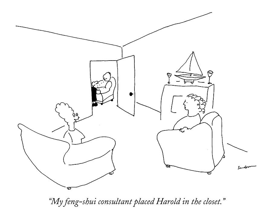 My Feng-shui Consultant Placed Harold Drawing by Michael Shaw