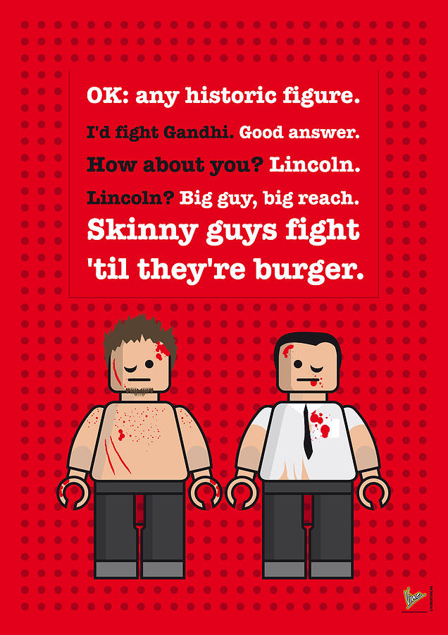Fight Digital Art - My Fight Club Lego Dialogue Poster by Chungkong Art
