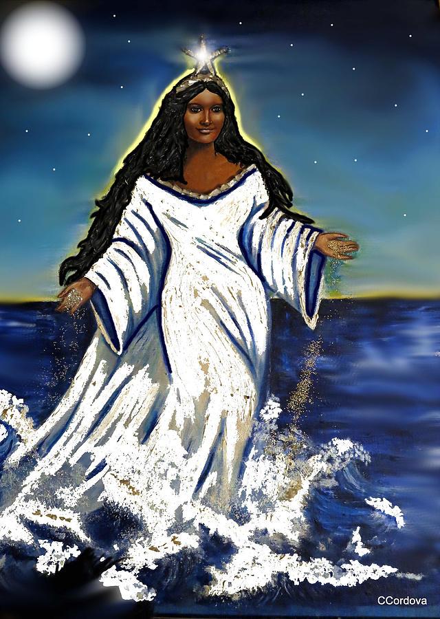 Oil Painting - My First Yemaya by Carmen Cordova