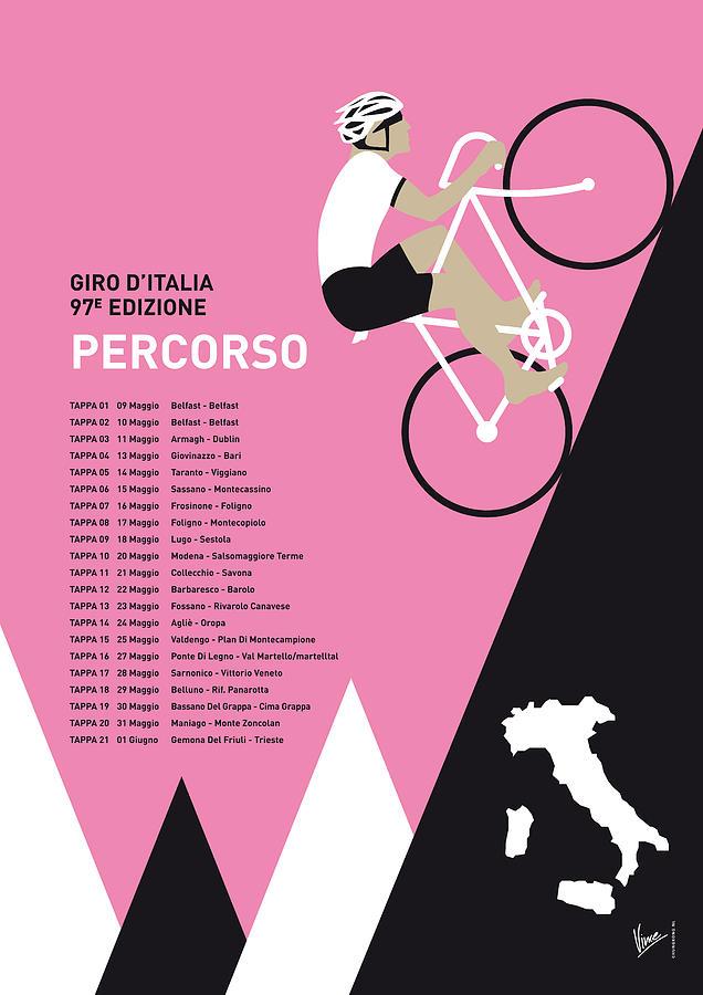 2014 Digital Art - My Giro D Italia Minimal Poster 2014-percoso by Chungkong Art