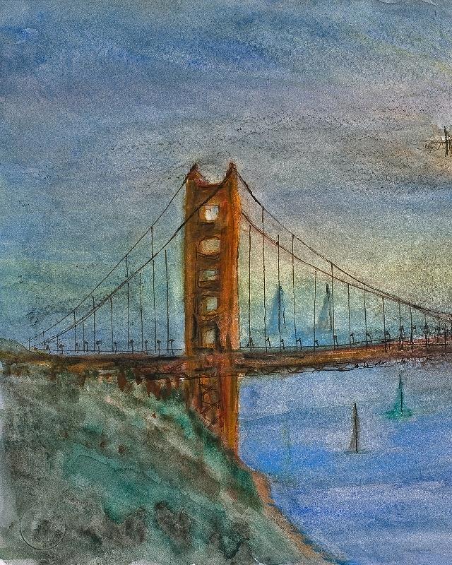 Golden Gate Painting - My Golden Gate Bridge by Anais DelaVega