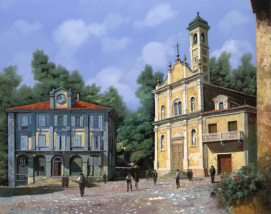 Piedmont Painting - My Home Village by Guido Borelli