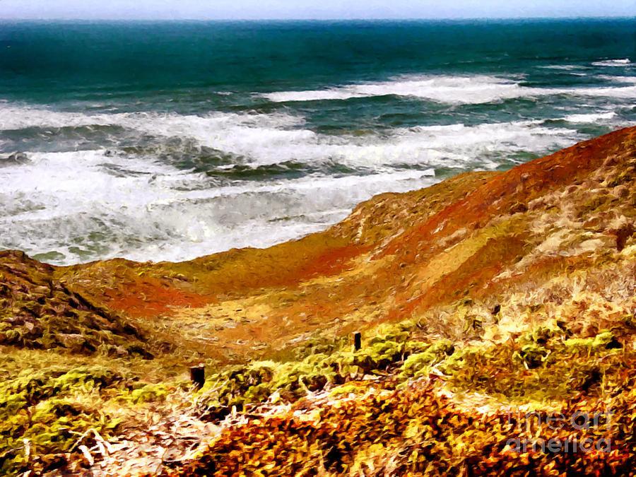 Impression Painting - My Impression Of California Coastline by Bob and Nadine Johnston