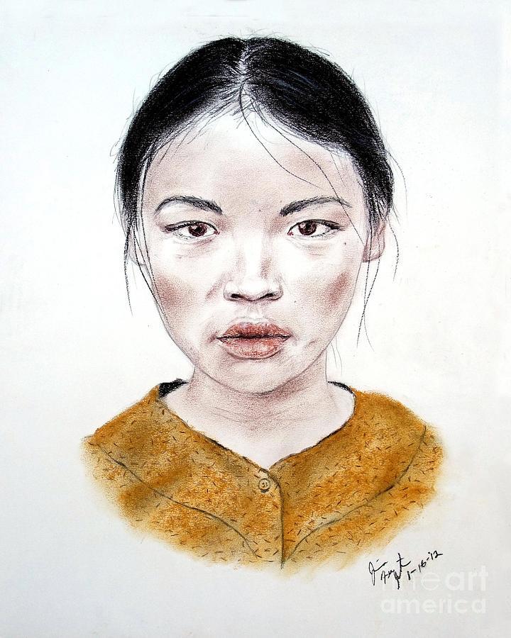 Girl Drawing - My Kuiama A Young Vietnamese Girl  by Jim Fitzpatrick