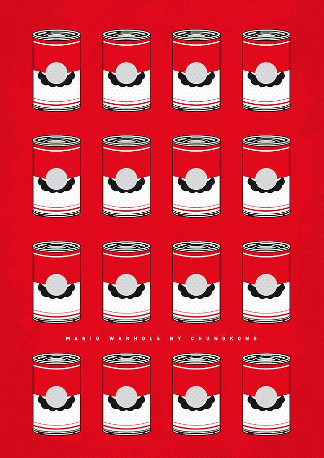 Warhol Digital Art - My Mario Warhols Minimal Can Poster-mario-2 by Chungkong Art