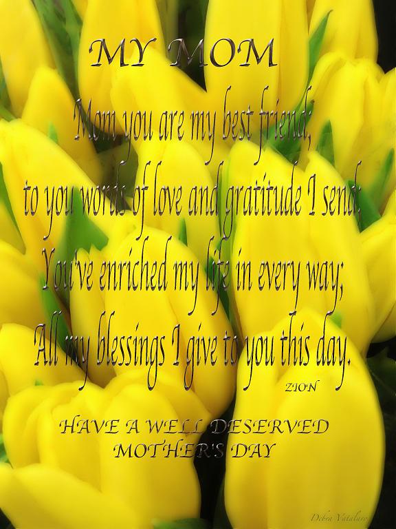 Mothers Day Poem Card Photograph - My Mom Card by Debra     Vatalaro