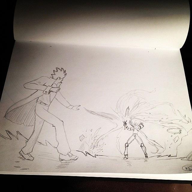 Pencil Photograph - My New #drawing #fireball #sword #anime by Kristine Dunn