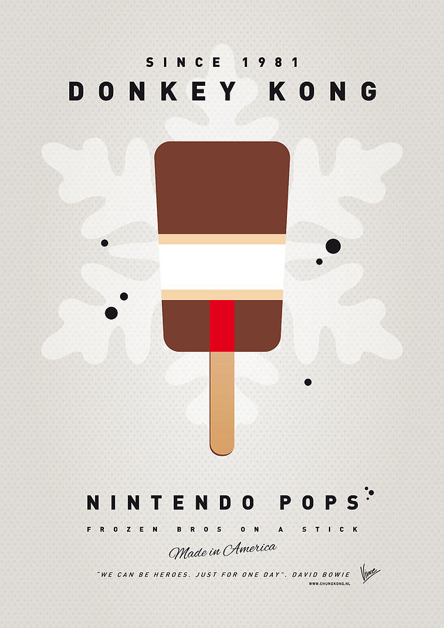 1 Up Digital Art - My Nintendo Ice Pop - Donkey Kong by Chungkong Art
