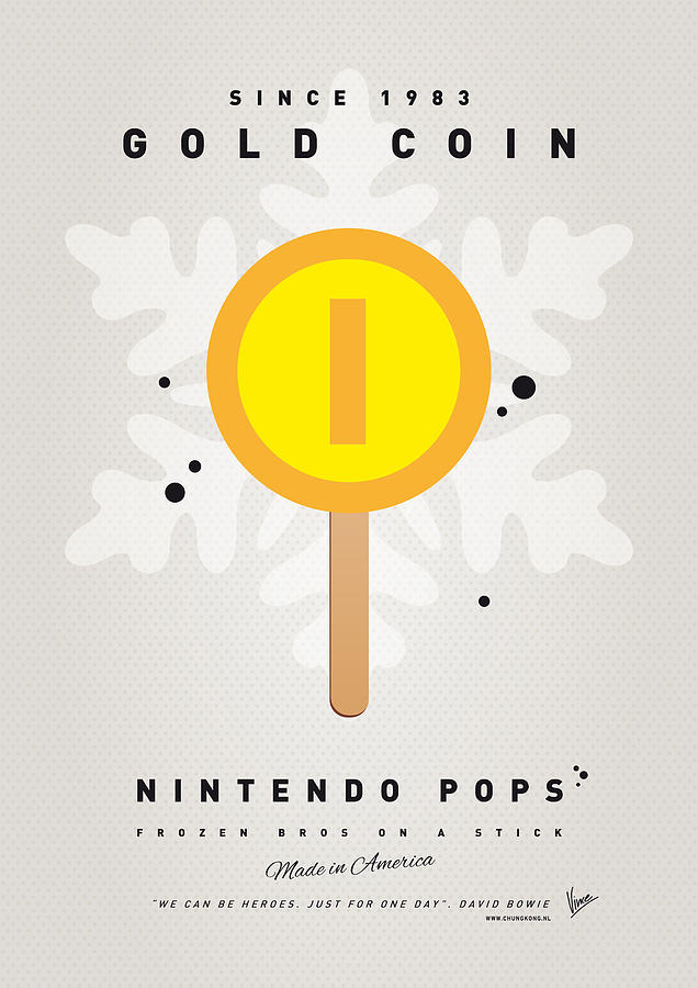 1 Up Digital Art - My Nintendo Ice Pop - Gold Coin by Chungkong Art
